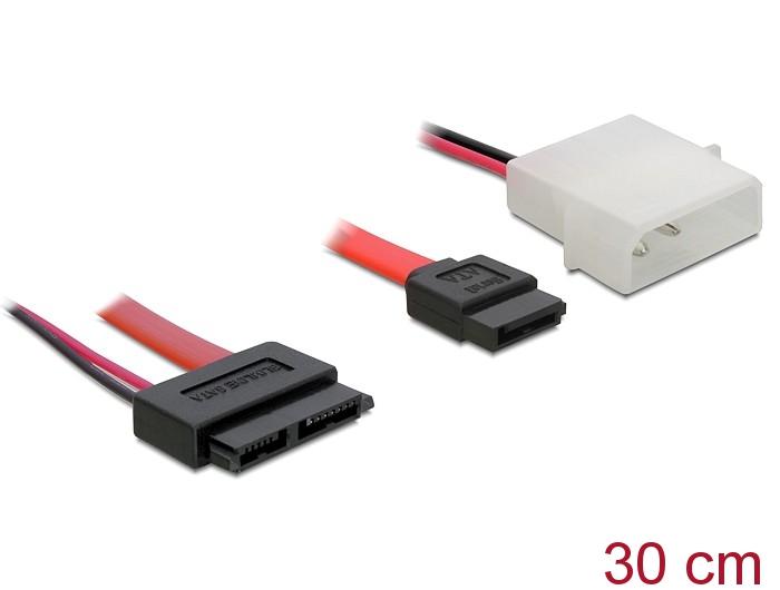 Delock Products 84390 Delock Cable Slim SATA female > SATA 7 pin + 2 ...