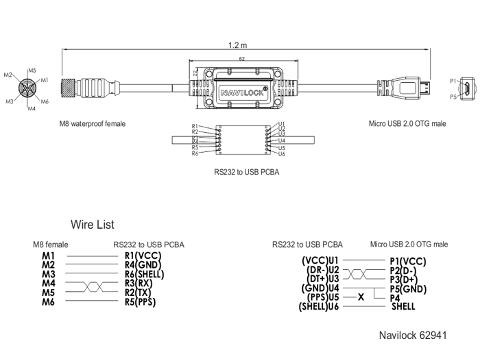 Navilock Products 62941 Navilock Connection Cable M8 serial ... on