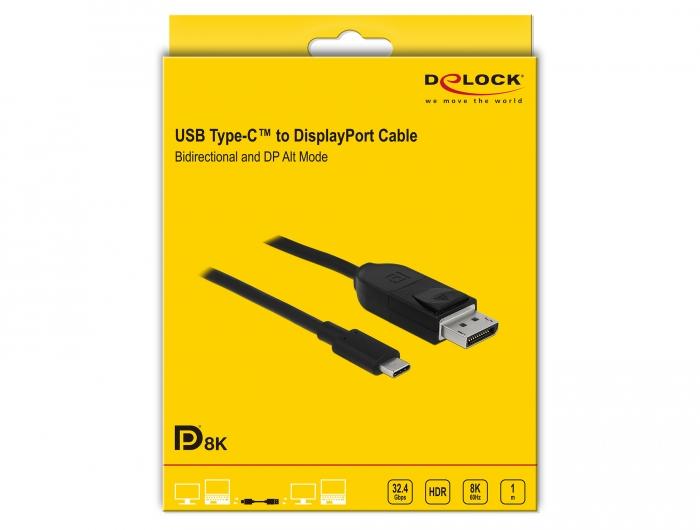 DeLock C/âble Displayport 8 K 60 Hz 3 m DP 8 K Noir