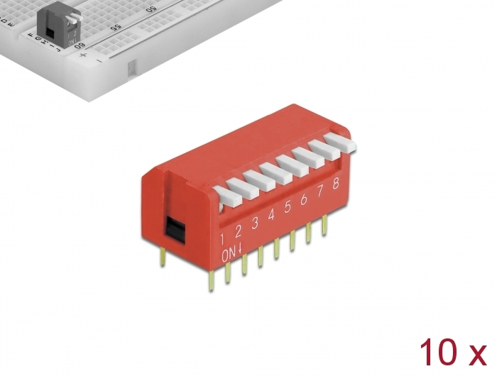 10 Stück Delock Dip-Schiebeschalter 8-stellig 2,54 mm Rastermaß THT Vertikal rot